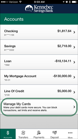 Manage Cards in Mobile Banking: Account Screen