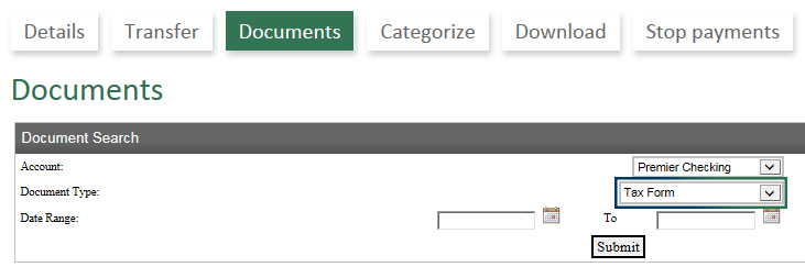 Documents Menu in Online Banking