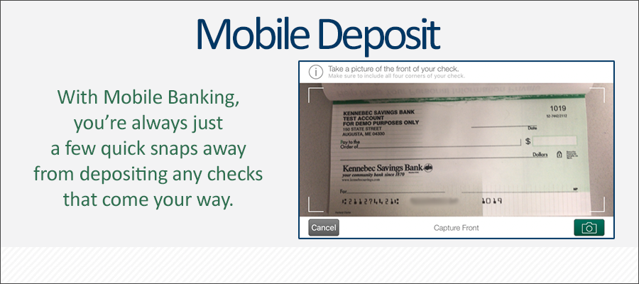 With Mobile Deposit in our app, you're just a few snaps away from depositing your checks.