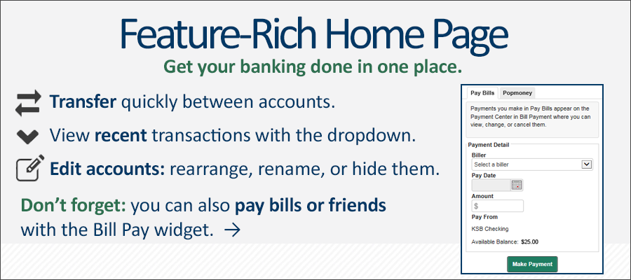 Online Banking features are baked right into the home page after the login screen. Make transfers, view recent transactions, edit the account listing, and pay bills.